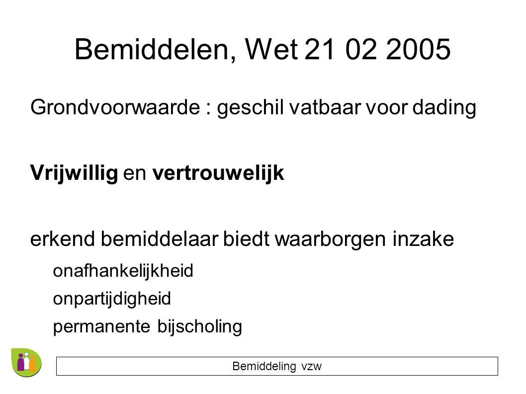 Bemiddelen, Wet 21 02 2005 Grondvoorwaarde : geschil vatbaar voor dading. Vrijwillig en vertrouwelijk.