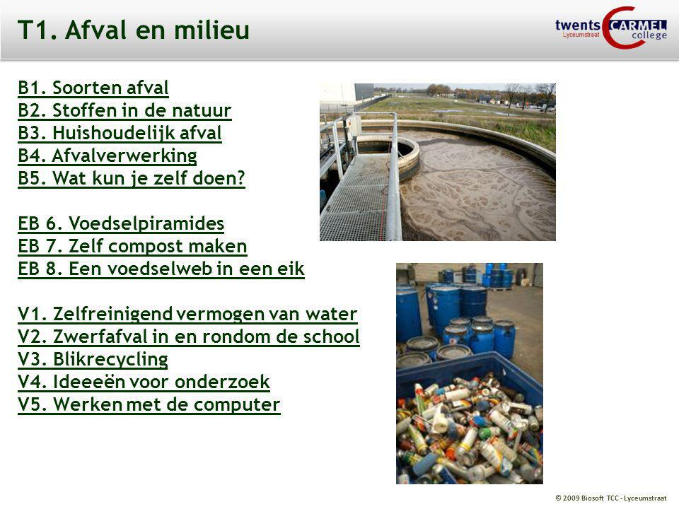 T1. Afval en milieu B1. Soorten afval B2. Stoffen in de natuur