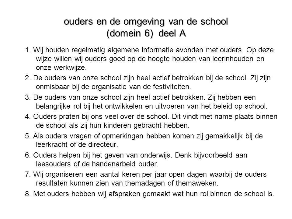 ouders en de omgeving van de school (domein 6) deel A