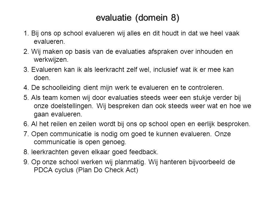evaluatie (domein 8) 1. Bij ons op school evalueren wij alles en dit houdt in dat we heel vaak evalueren.