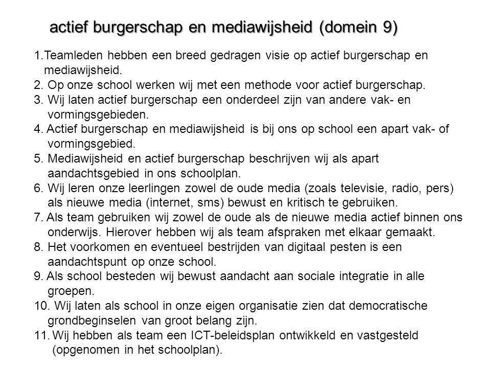 actief burgerschap en mediawijsheid (domein 9)