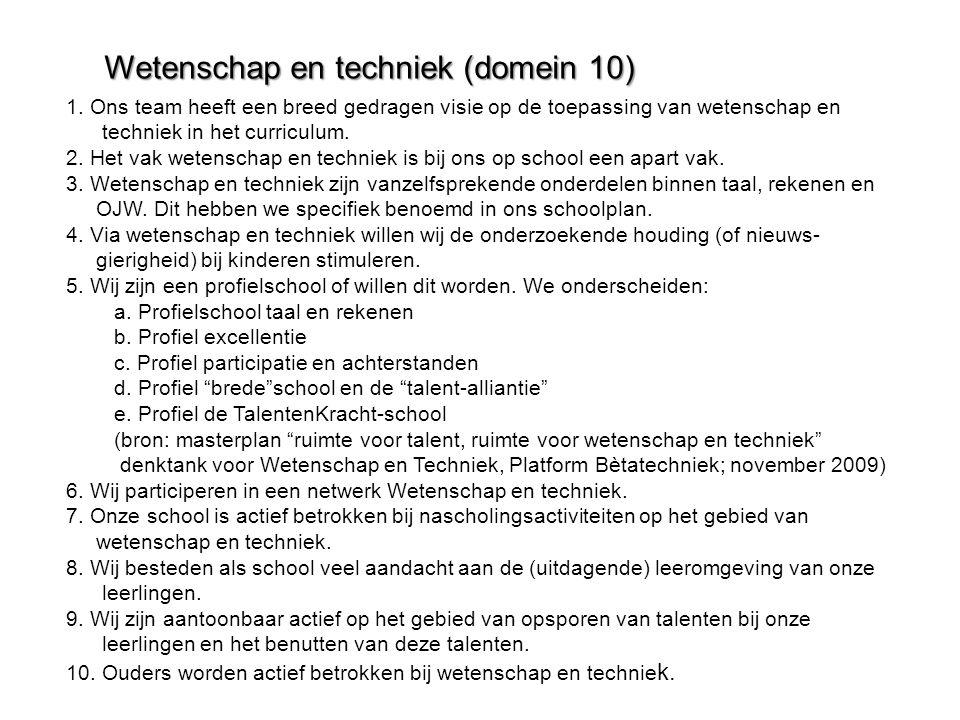 Wetenschap en techniek (domein 10)