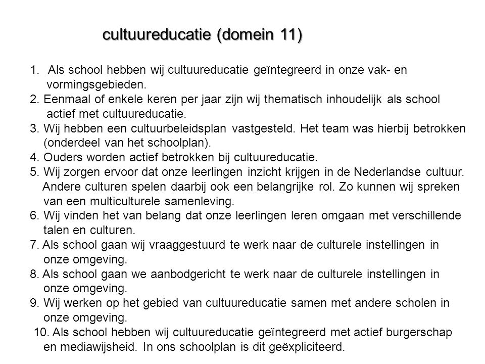 cultuureducatie (domein 11)