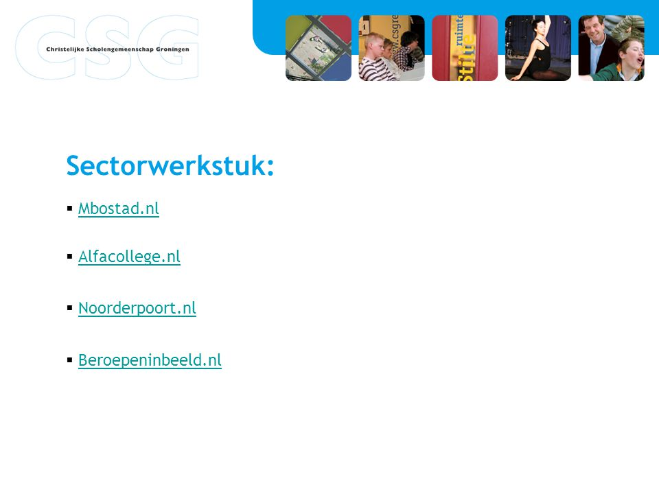 Sectorwerkstuk: Mbostad.nl Alfacollege.nl Noorderpoort.nl