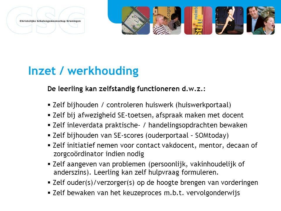 Inzet / werkhouding De leerling kan zelfstandig functioneren d.w.z.: