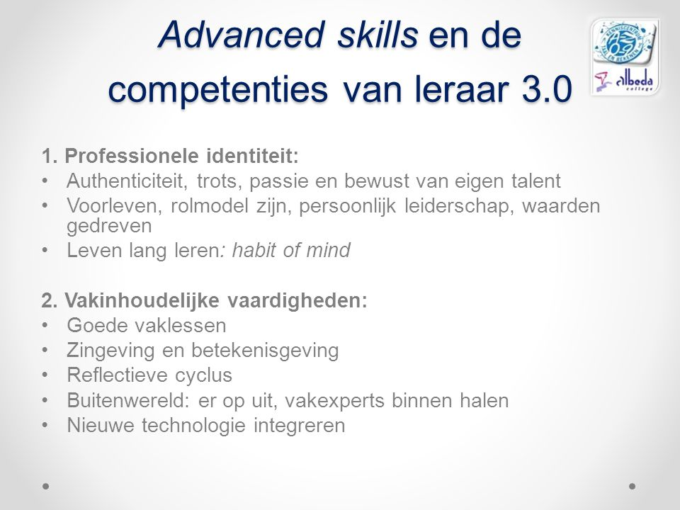 Advanced skills en de competenties van leraar 3.0
