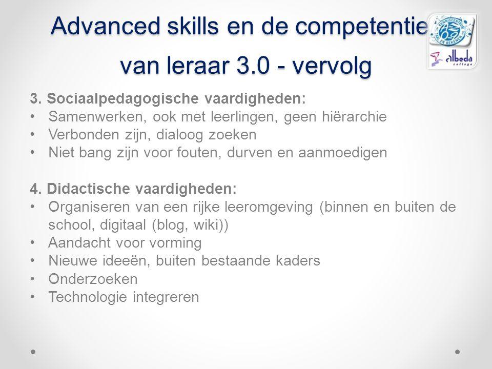 Advanced skills en de competenties van leraar 3.0 - vervolg