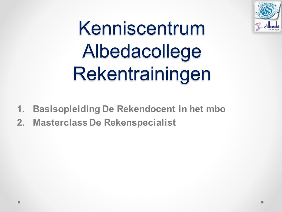 Kenniscentrum Albedacollege Rekentrainingen