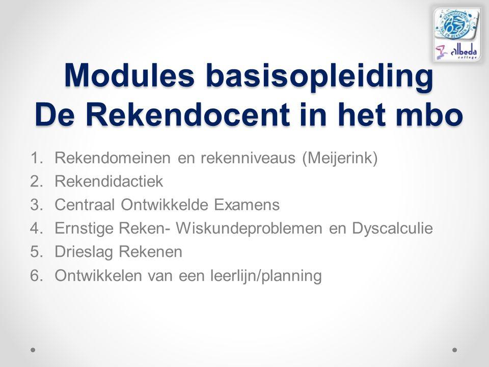 Modules basisopleiding De Rekendocent in het mbo