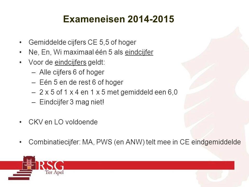 Exameneisen 2014-2015 Gemiddelde cijfers CE 5,5 of hoger