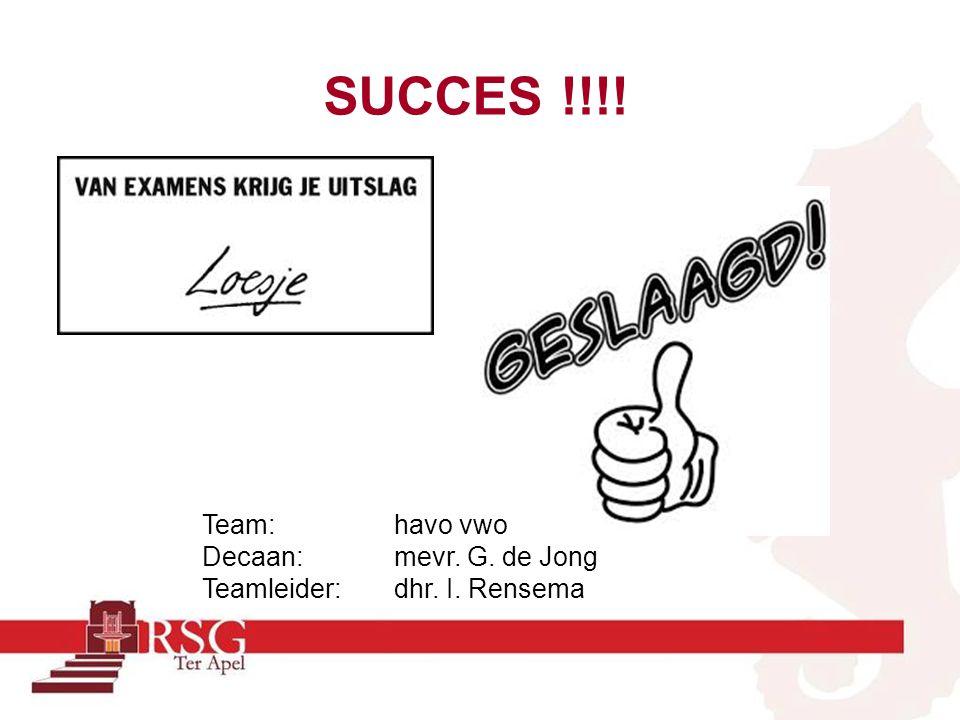 SUCCES !!!! Team: havo vwo Decaan: mevr. G. de Jong