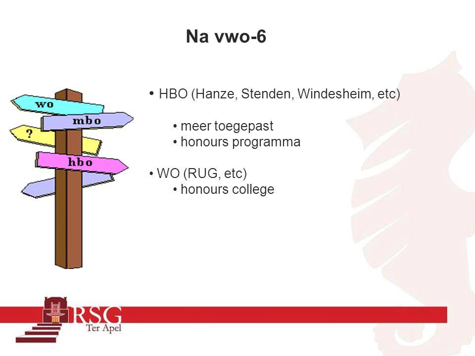 Na vwo-6 HBO (Hanze, Stenden, Windesheim, etc) meer toegepast