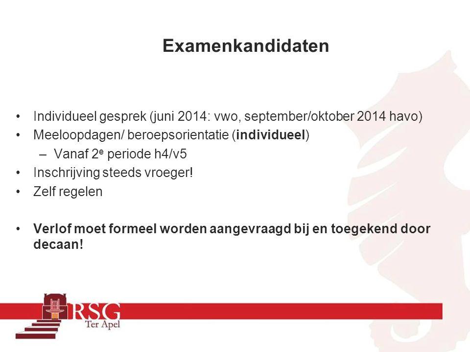Examenkandidaten Individueel gesprek (juni 2014: vwo, september/oktober 2014 havo) Meeloopdagen/ beroepsorientatie (individueel)