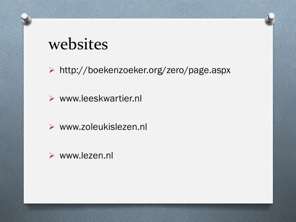 websites http://boekenzoeker.org/zero/page.aspx www.leeskwartier.nl