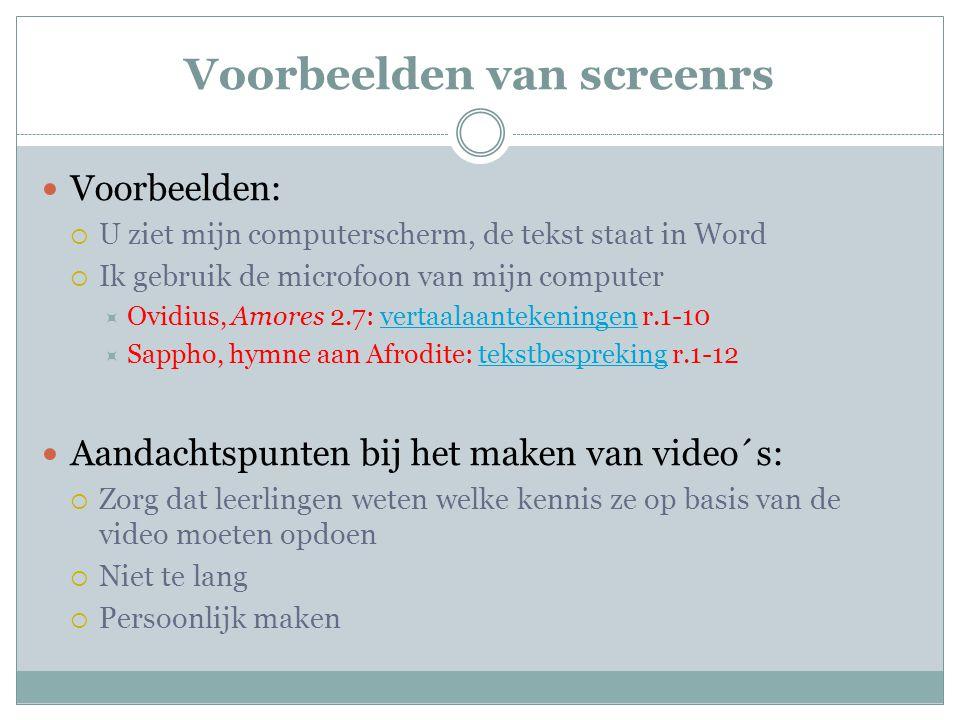 Voorbeelden van screenrs