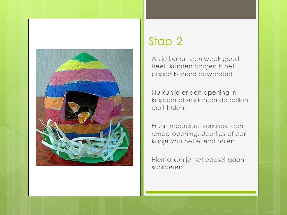 Stap 2 Als je ballon een week goed heeft kunnen drogen is het papier keihard geworden!