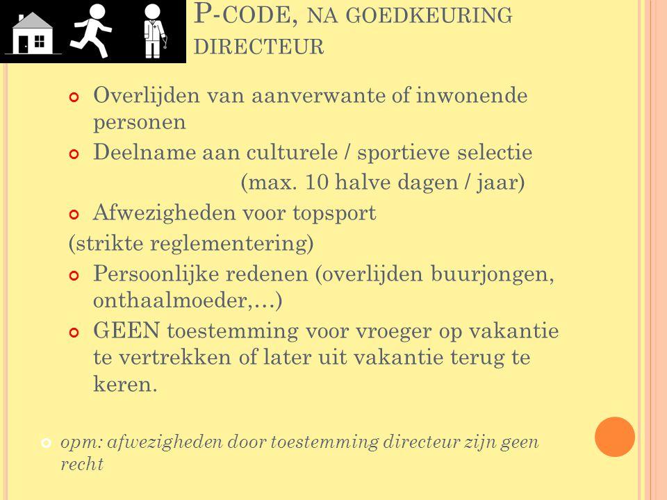 P-code, na goedkeuring directeur