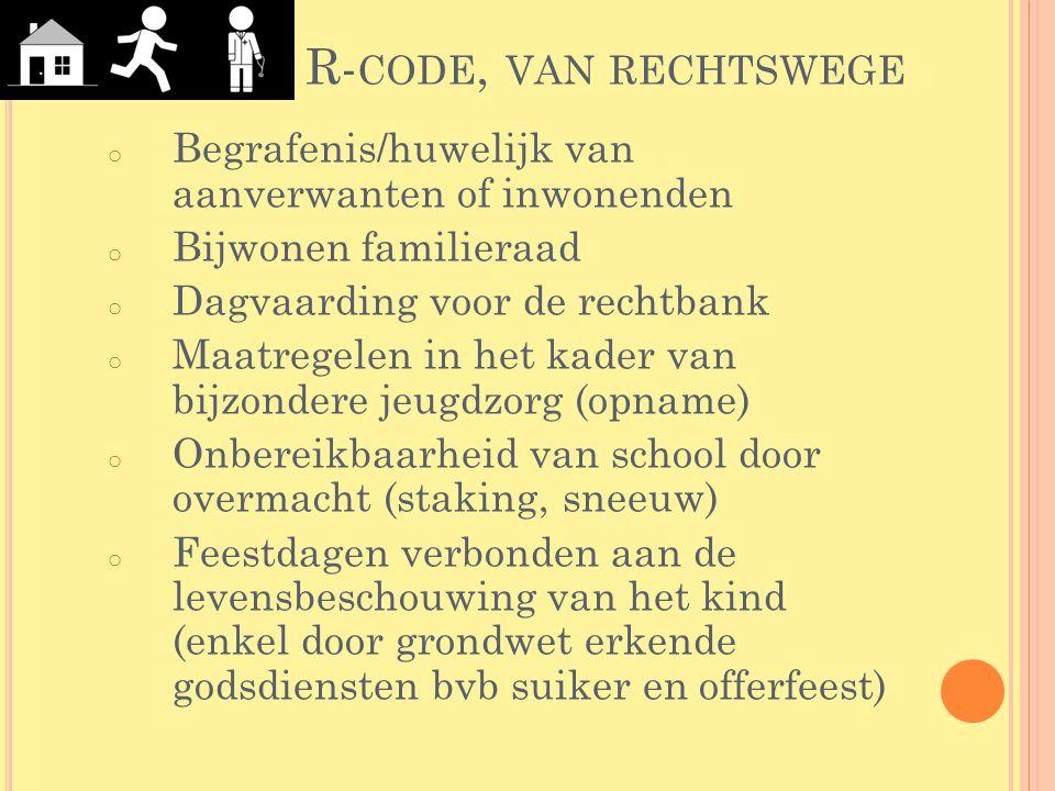 R-code, van rechtswege Begrafenis/huwelijk van aanverwanten of inwonenden. Bijwonen familieraad. Dagvaarding voor de rechtbank.