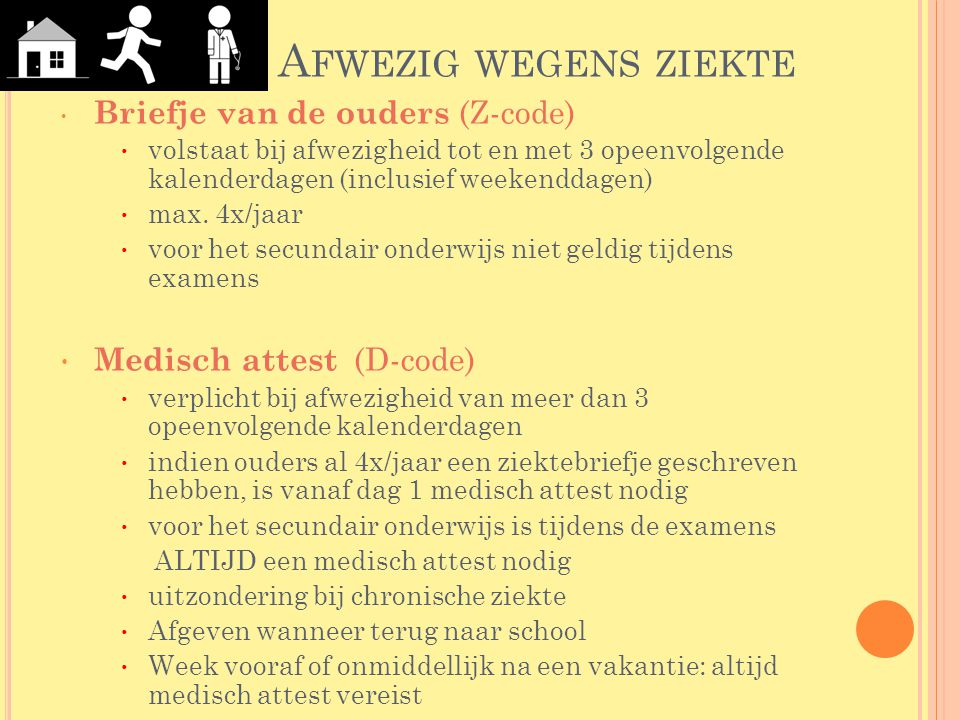 Afwezig wegens ziekte Briefje van de ouders (Z-code)