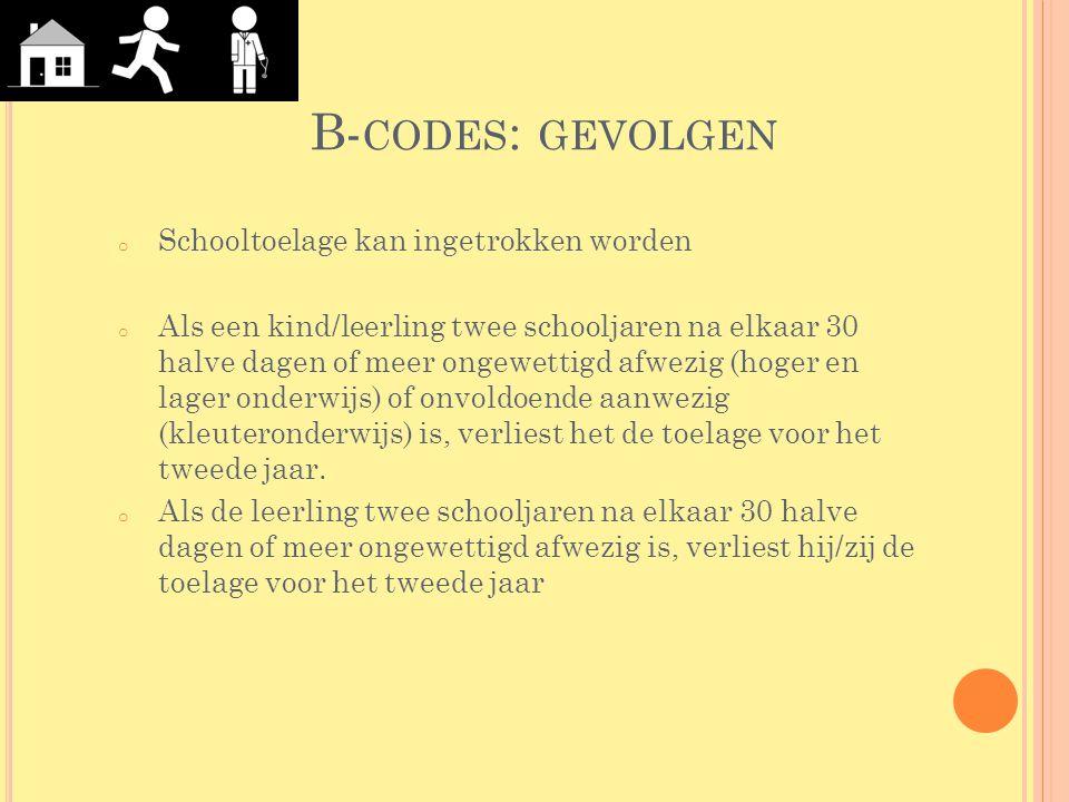 B-codes: gevolgen Schooltoelage kan ingetrokken worden