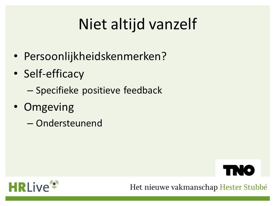 Niet altijd vanzelf Persoonlijkheidskenmerken Self-efficacy Omgeving