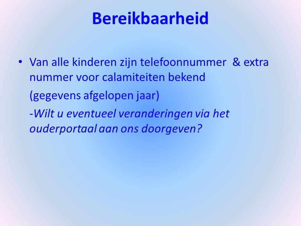 Bereikbaarheid Van alle kinderen zijn telefoonnummer & extra nummer voor calamiteiten bekend. (gegevens afgelopen jaar)