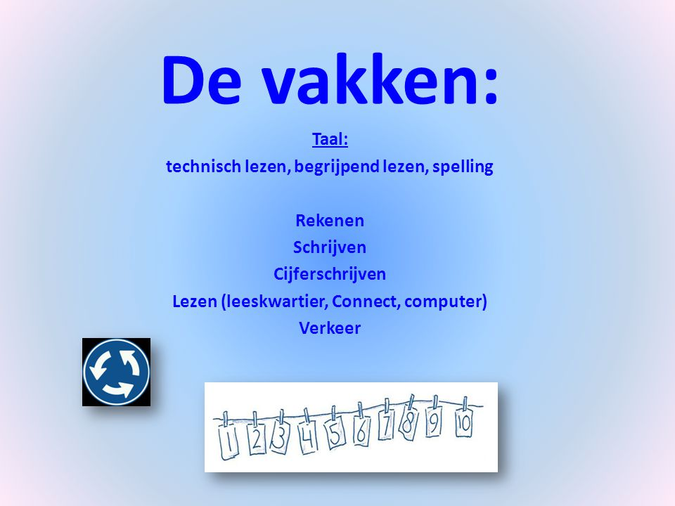 De vakken: Taal: technisch lezen, begrijpend lezen, spelling Rekenen