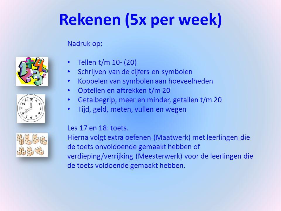 Rekenen (5x per week) Nadruk op: Tellen t/m 10- (20)