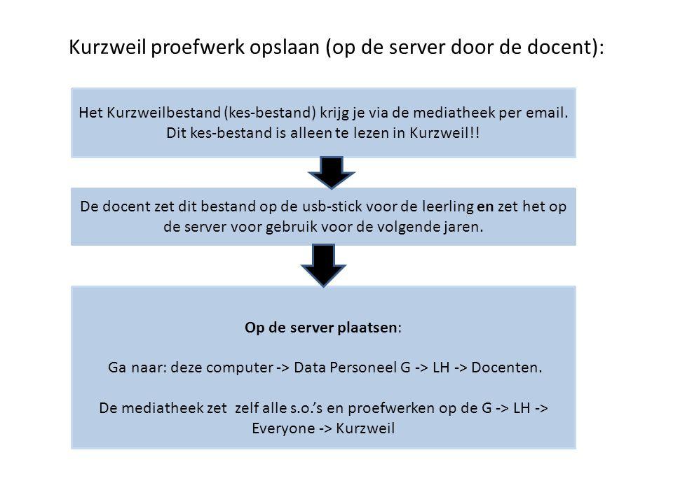 Kurzweil proefwerk opslaan (op de server door de docent):