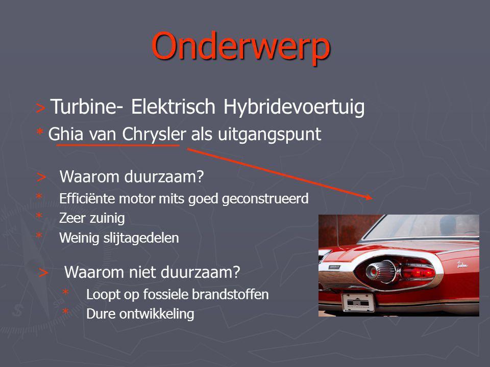 Onderwerp > Turbine- Elektrisch Hybridevoertuig