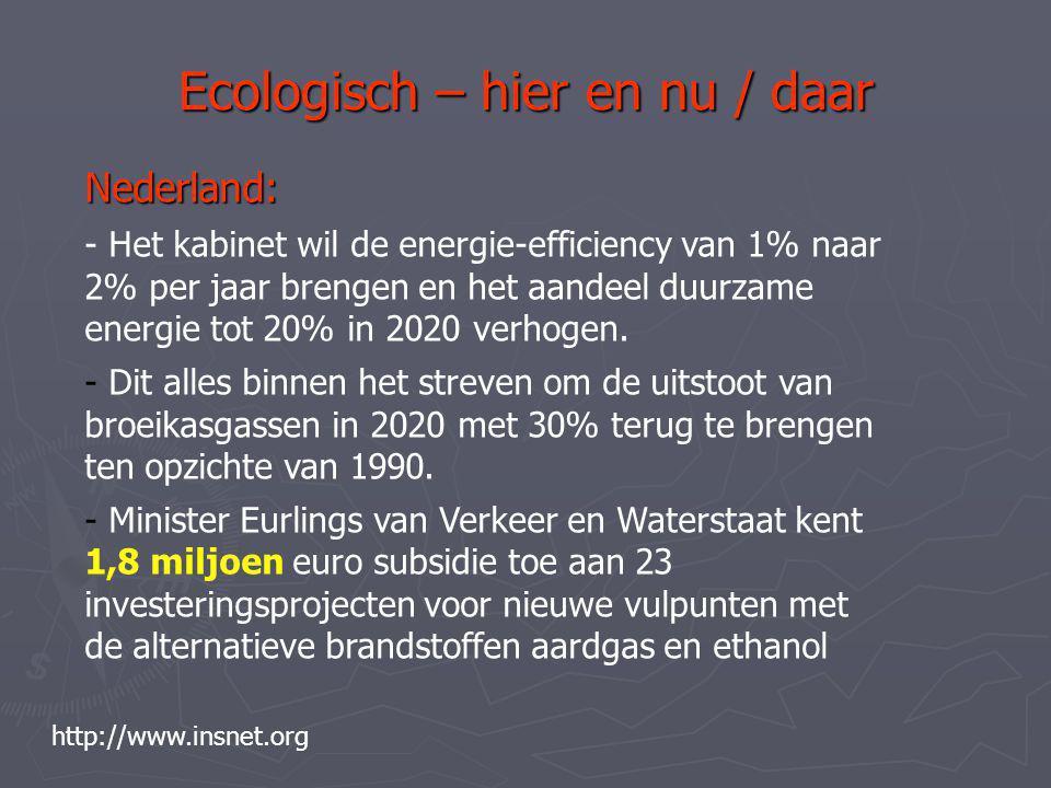 Ecologisch – hier en nu / daar