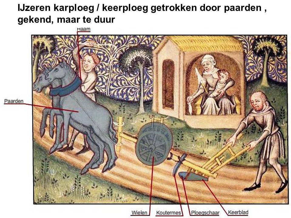 IJzeren karploeg / keerploeg getrokken door paarden ,