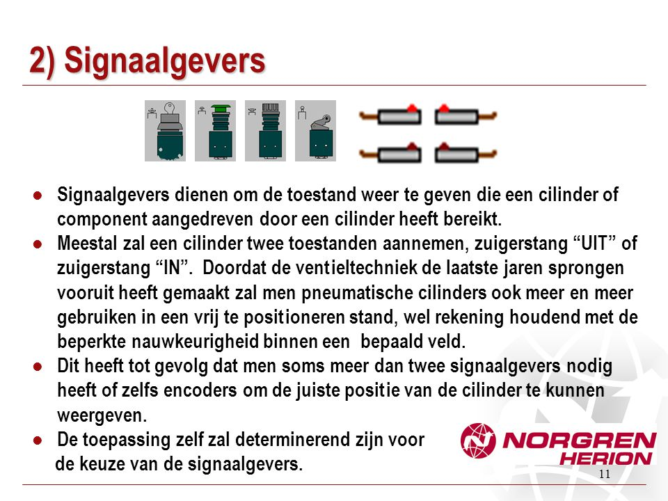 2) Signaalgevers Signaalgevers dienen om de toestand weer te geven die een cilinder of component aangedreven door een cilinder heeft bereikt.