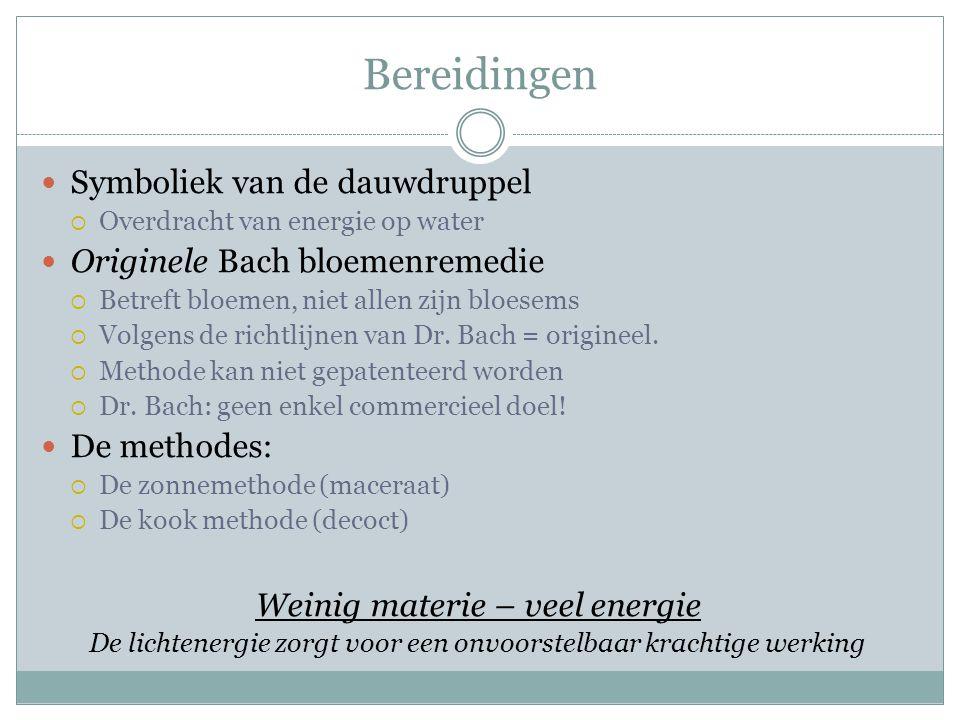 Bereidingen Symboliek van de dauwdruppel Originele Bach bloemenremedie