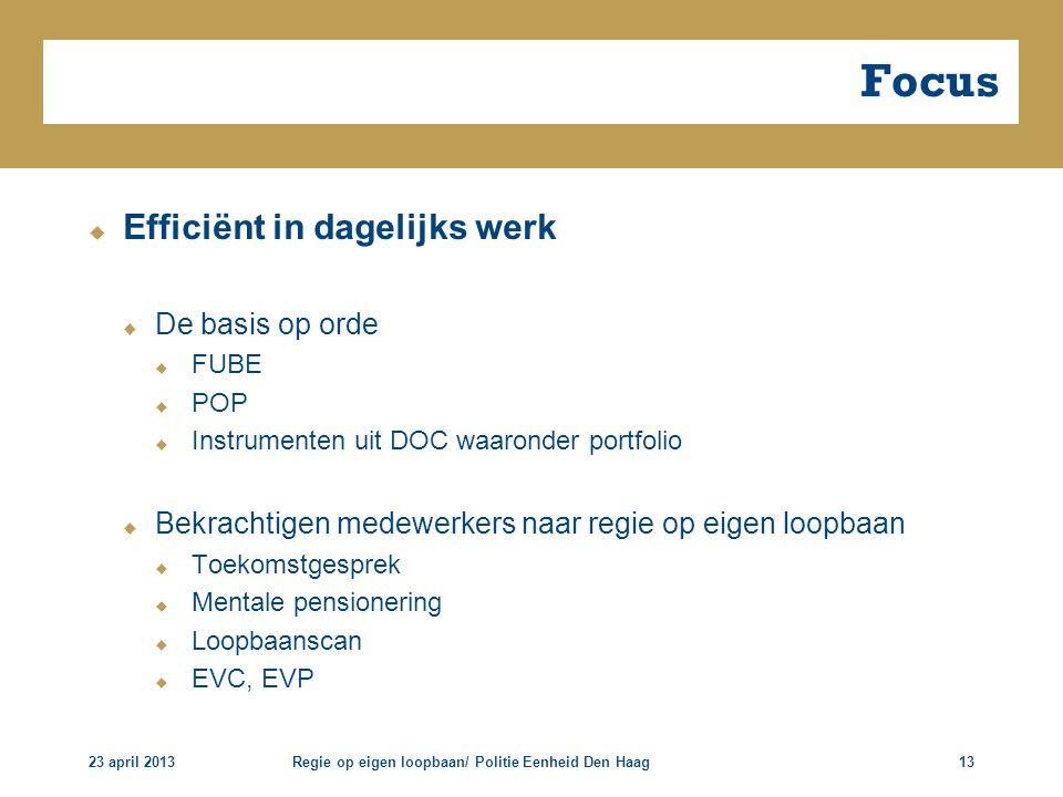 Focus Efficiënt in dagelijks werk De basis op orde