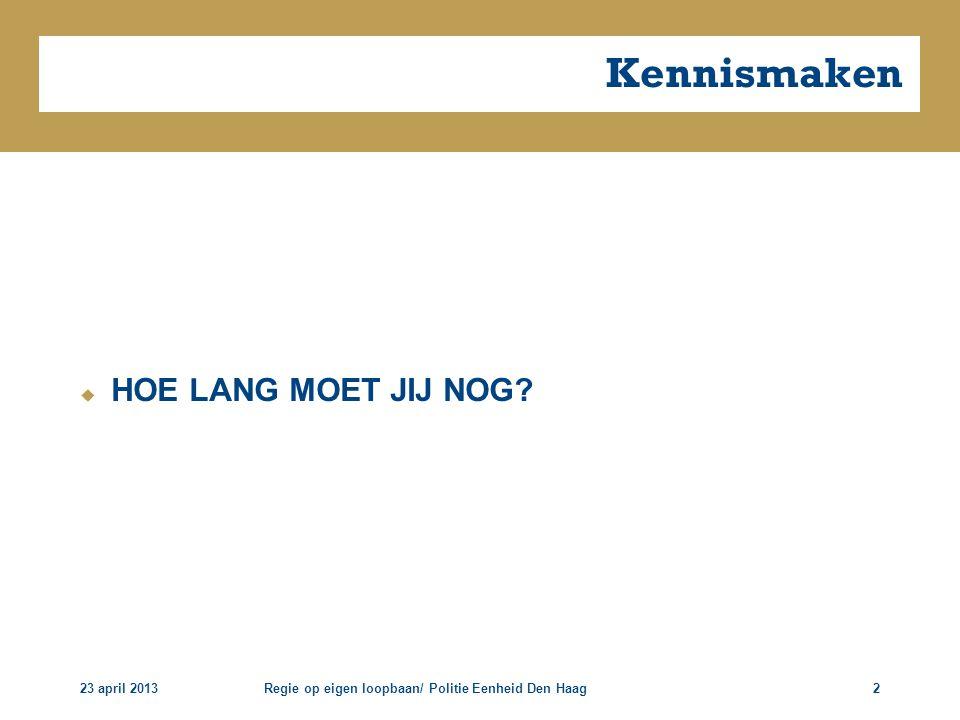 Kennismaken HOE LANG MOET JIJ NOG 23 april 2013