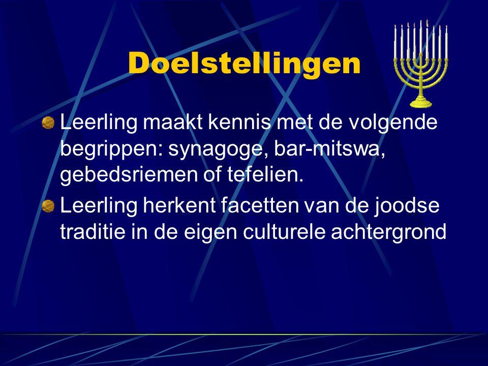 Doelstellingen Leerling maakt kennis met de volgende begrippen: synagoge, bar-mitswa, gebedsriemen of tefelien.