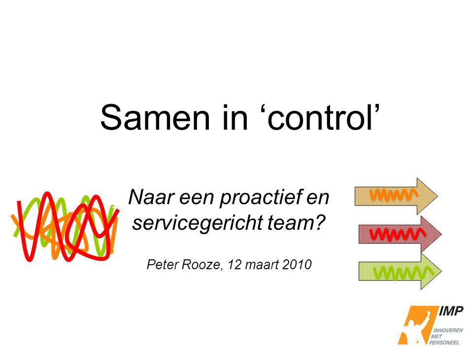 Naar een proactief en servicegericht team Peter Rooze, 12 maart 2010