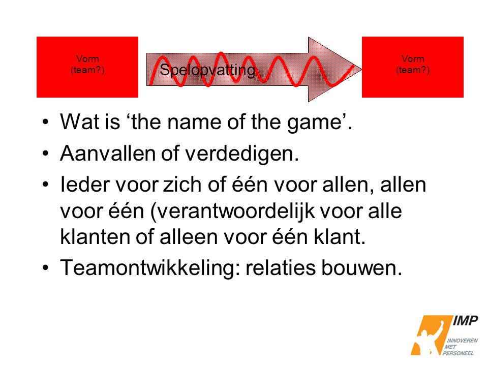 Wat is 'the name of the game'. Aanvallen of verdedigen.