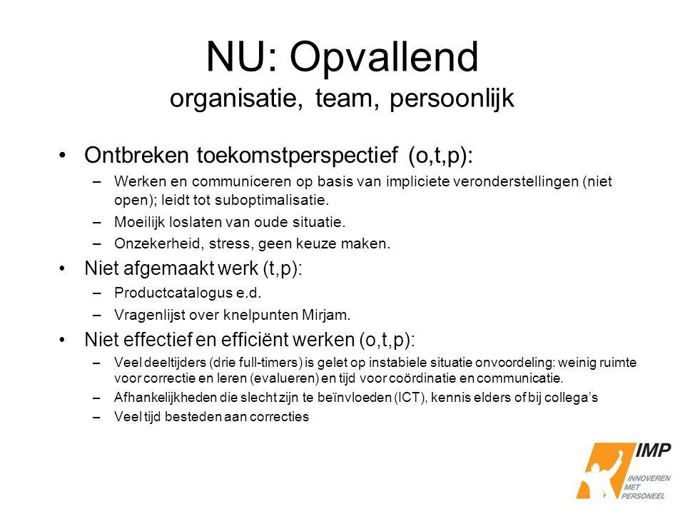 NU: Opvallend organisatie, team, persoonlijk