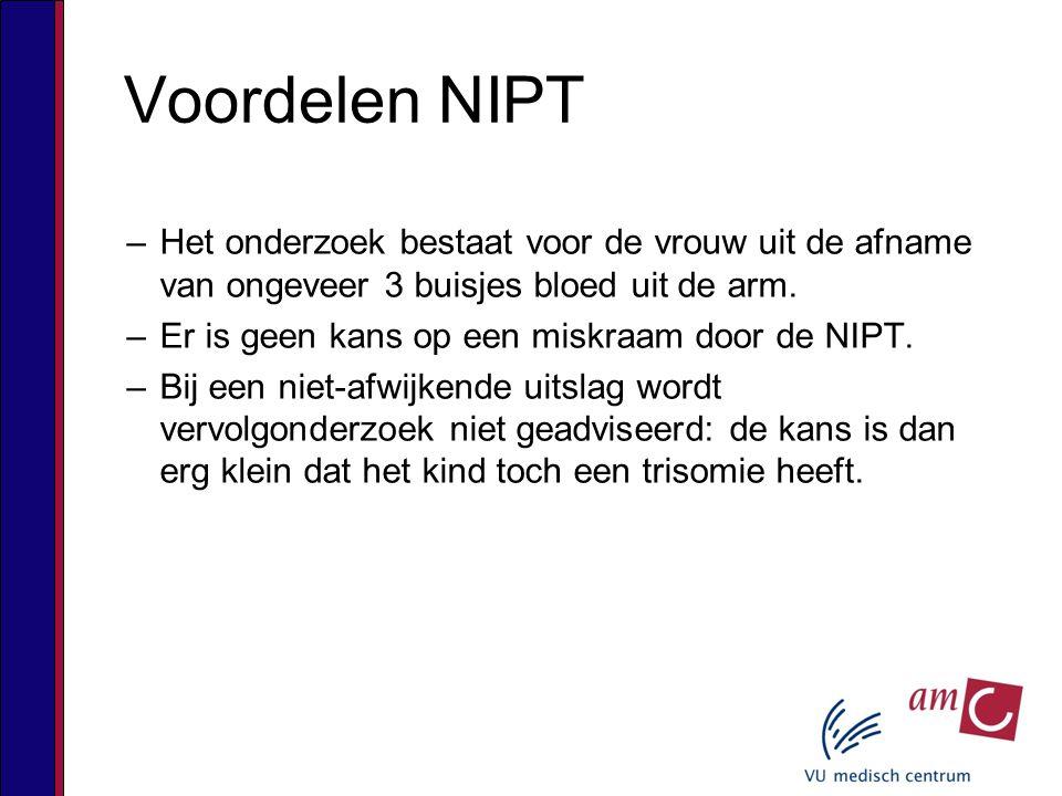 Voordelen NIPT Het onderzoek bestaat voor de vrouw uit de afname van ongeveer 3 buisjes bloed uit de arm.