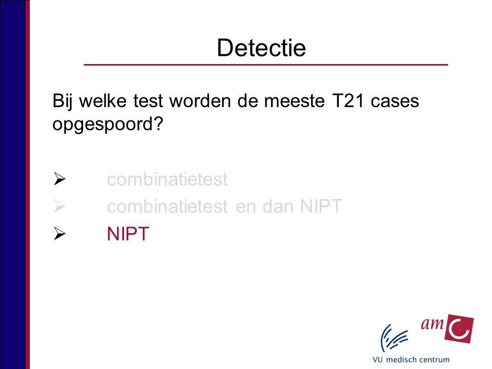 Detectie Bij welke test worden de meeste T21 cases opgespoord