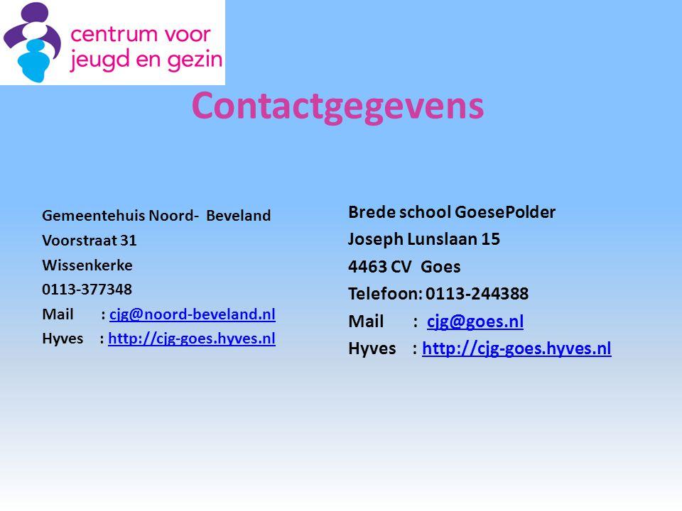 Contactgegevens Brede school GoesePolder Joseph Lunslaan 15