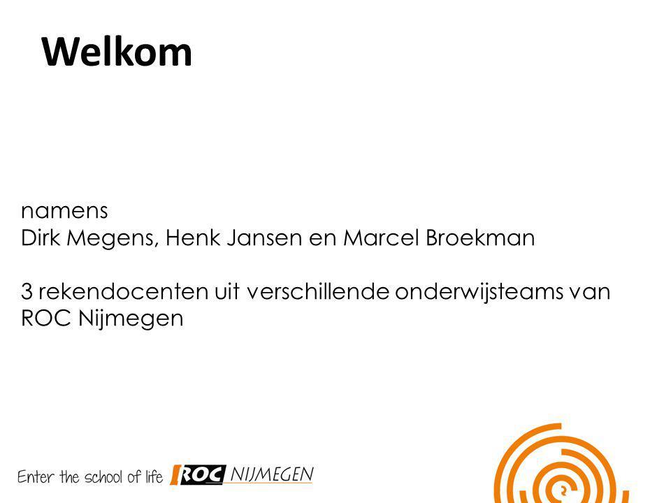 Welkom Welkom namens Dirk Megens, Henk Jansen en Marcel Broekman