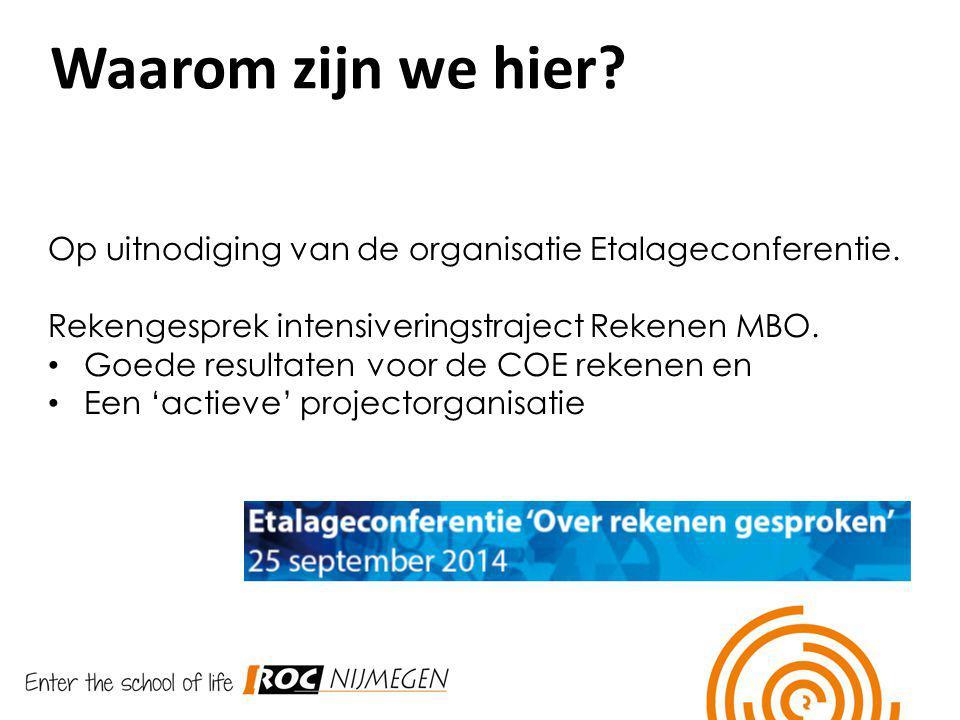 Waarom zijn we hier Op uitnodiging van de organisatie Etalageconferentie. Rekengesprek intensiveringstraject Rekenen MBO.