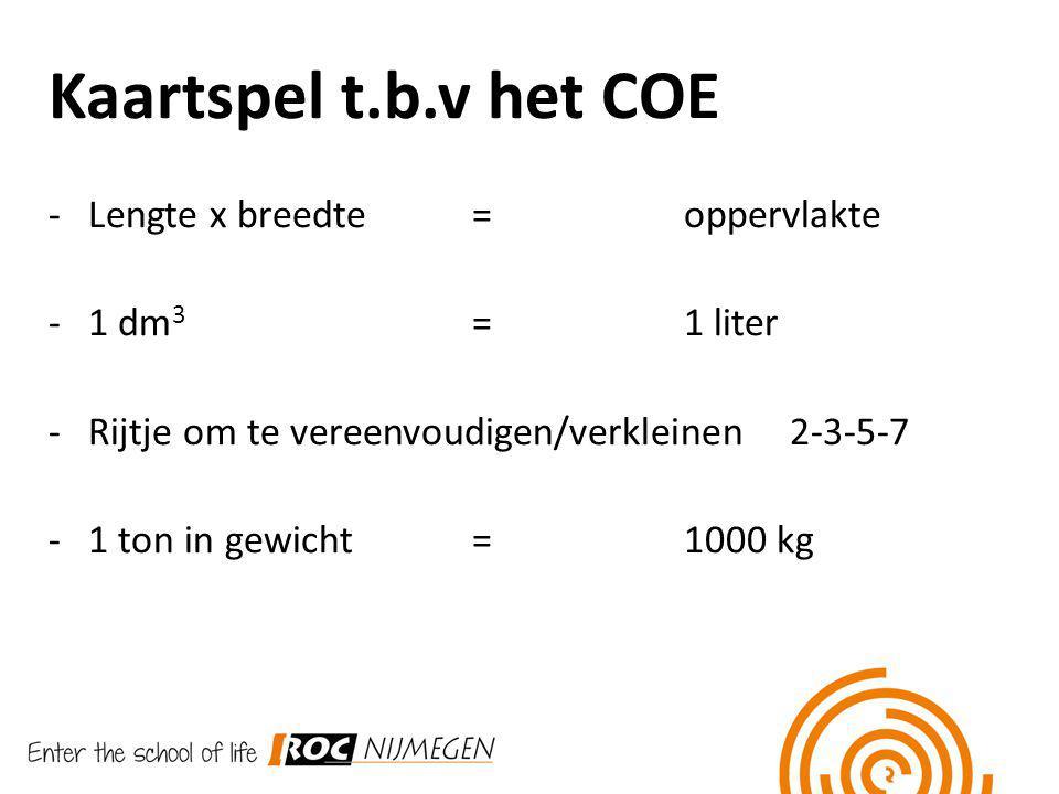 Kaartspel t.b.v het COE Lengte x breedte = oppervlakte 1 dm3 = 1 liter