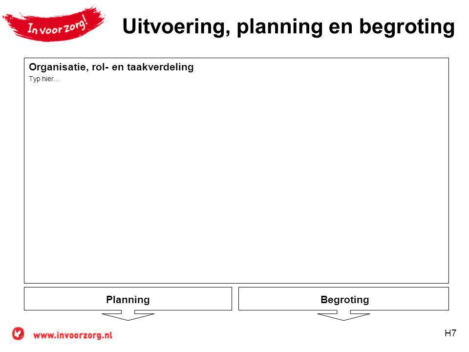 Uitvoering, planning en begroting