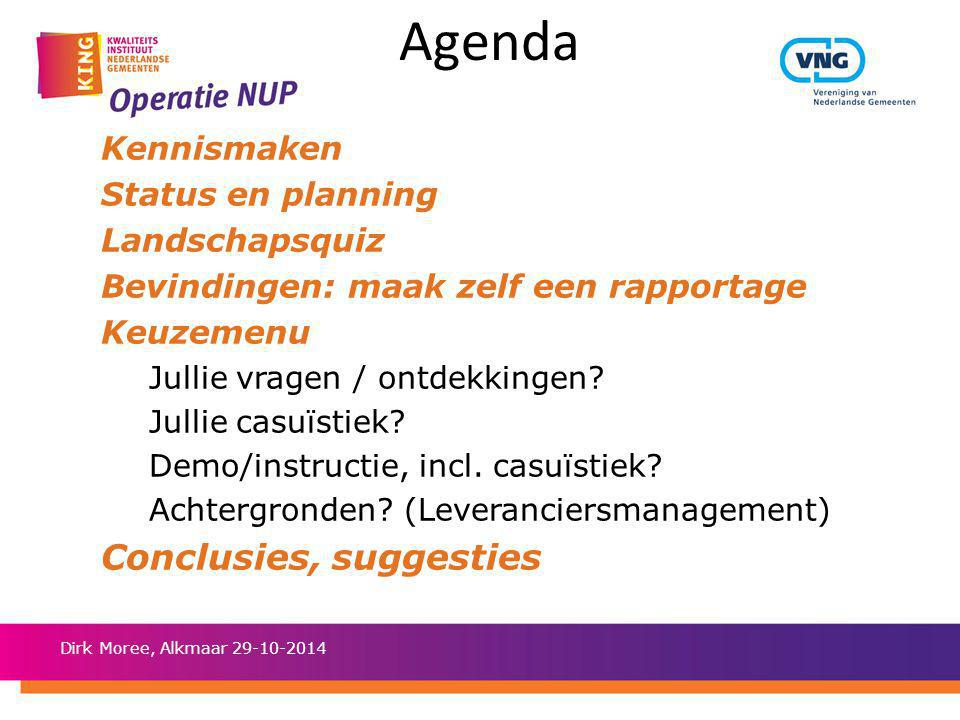 Agenda Conclusies, suggesties Kennismaken Status en planning