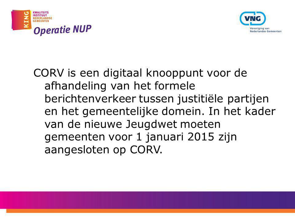 CORV is een digitaal knooppunt voor de afhandeling van het formele berichtenverkeer tussen justitiële partijen en het gemeentelijke domein.