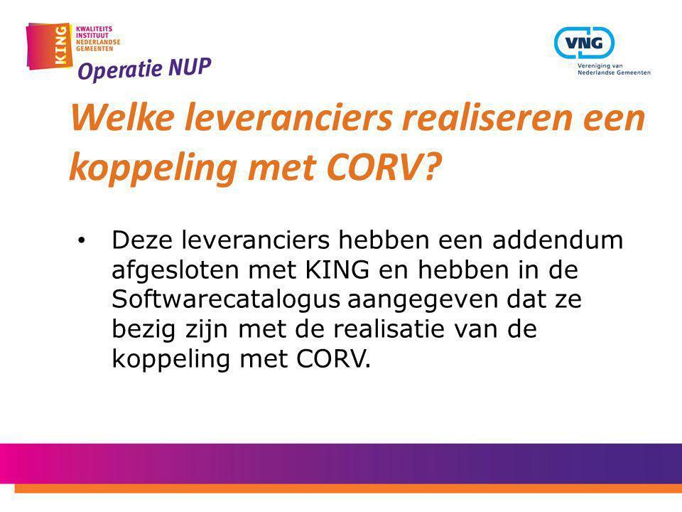 Welke leveranciers realiseren een koppeling met CORV